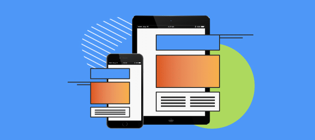 An illustration of a tablet and smartphone showing a responsive website design for SEO.