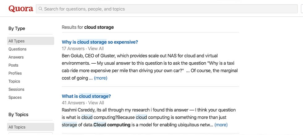 """Search for your industry (""""cloud storage"""") on those sites and see what kinds of questions people are asking."""