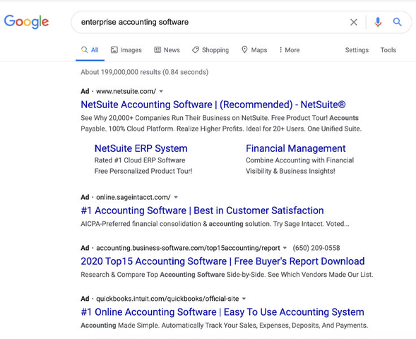 Search engine ads like this example from Google allow companies to directly target consumers looking for their products or services.