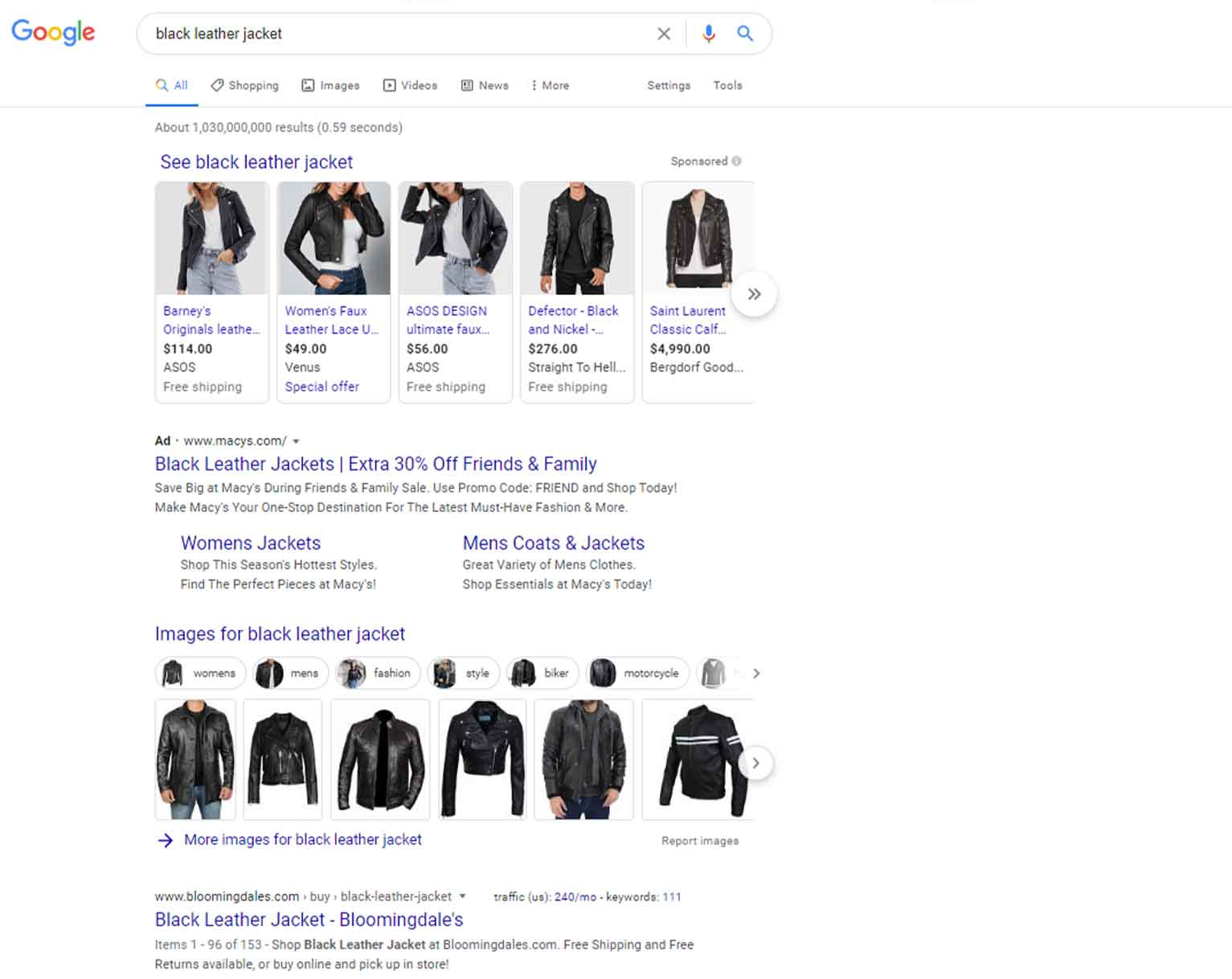 """The desktop SERP result of """"black leather jacket"""" includes shopping results, an ad and images."""