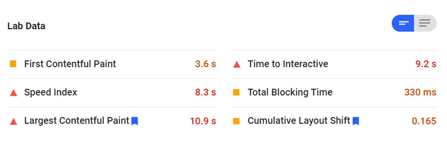 Another place to find your Core Web Vitals metrics is within Google's PageSpeed Insights tool.