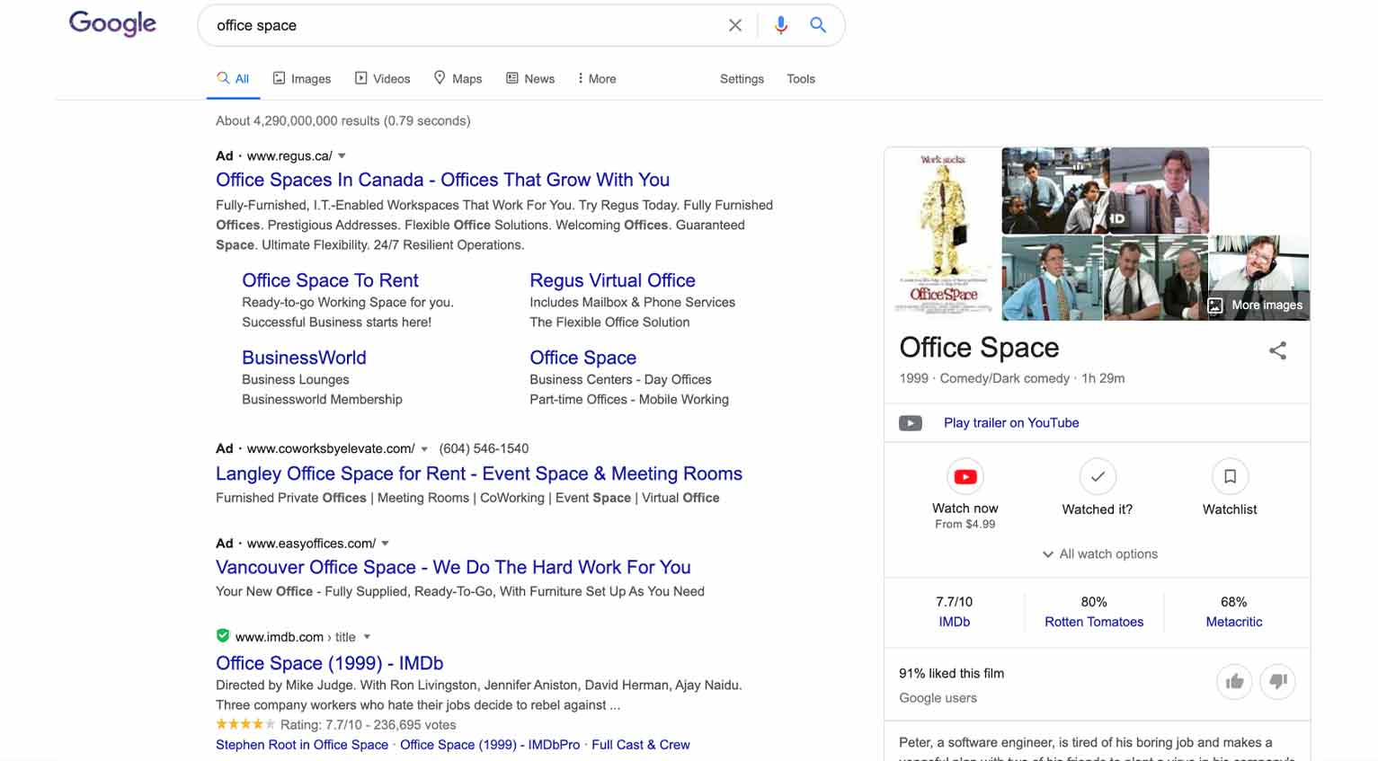 """When I search for """"office space,"""" am I looking for a commercial lease or where to buy the movie of the same name?"""