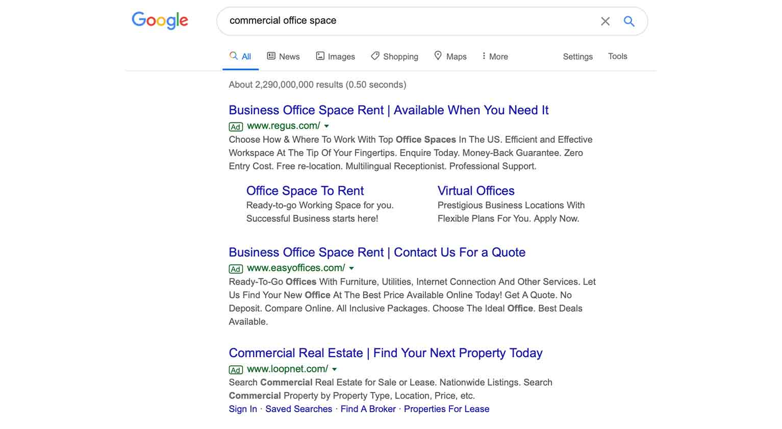 """""""Commercial office space"""" is a more specific search term."""