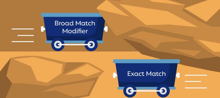 "Two mining carts on different rails in a mine. One reads ""Broad Match Modifier,"" and the other reads ""Exact Match."""