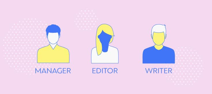 A content team typically includes a manager, an editor and a writer, among others.