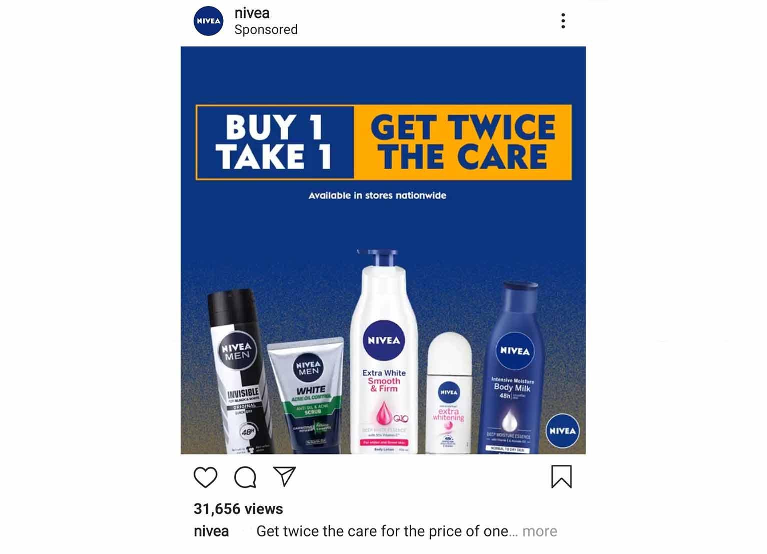 Nivea's social-media ad features their 1-for-1 deals.