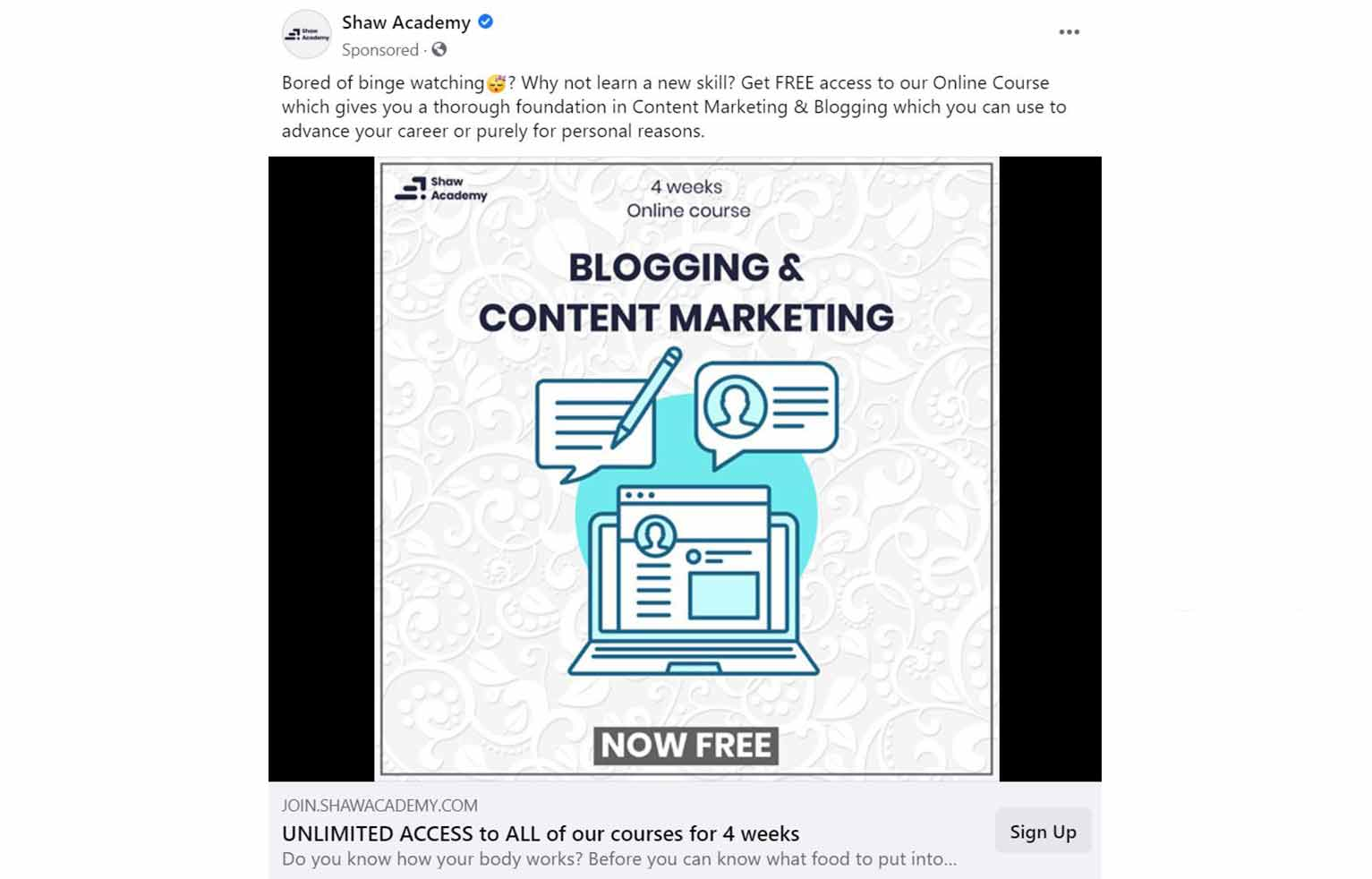 Shaw Academy's ad targets users that may have searched for blogging and content marketing information on Facebook.