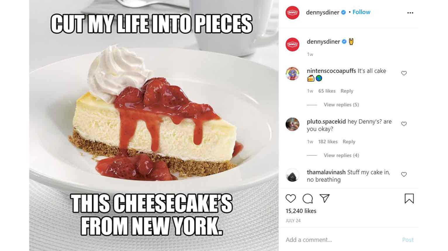 This post from Denny's might put a smile on your face, whether it's an organic or a paid ad.