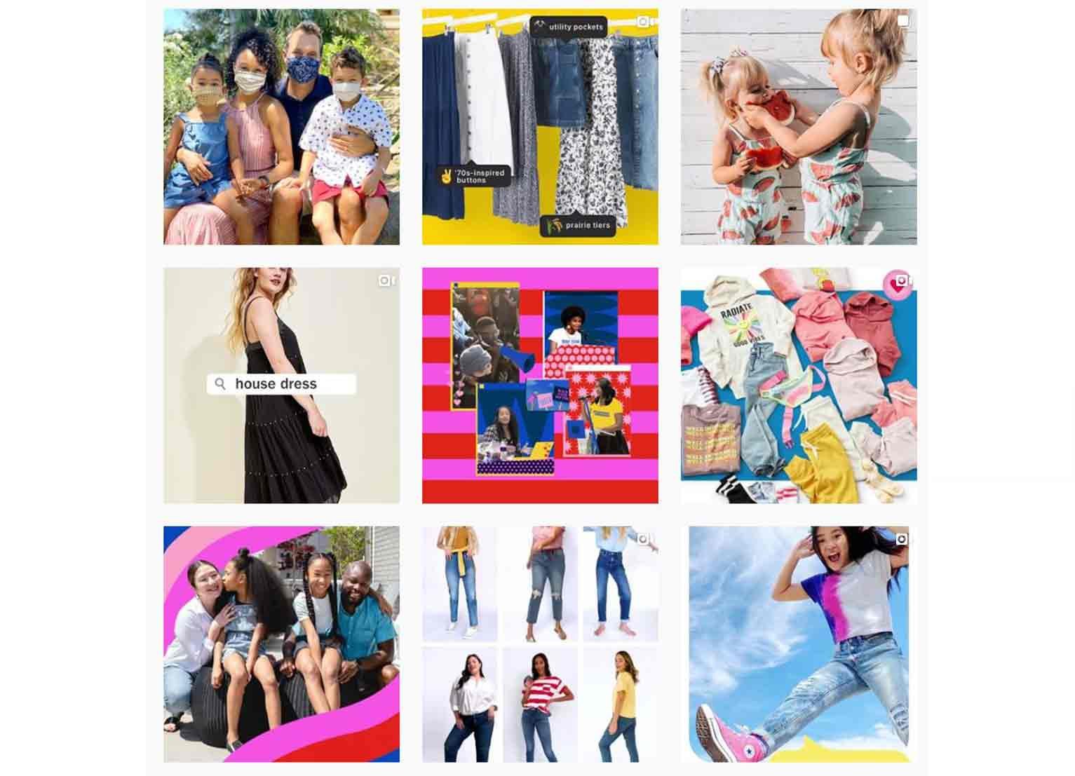 Old Navy's Instagram campaign features their latest fashionable apparel.