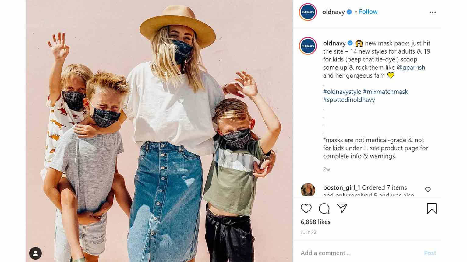 Old Navy's Instagram campaign features social-media influencers.