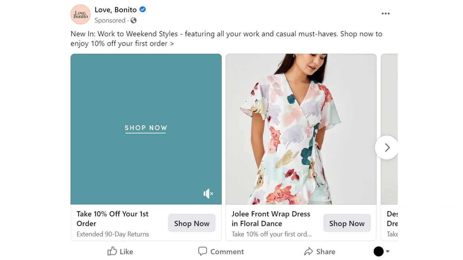 Here's an example of sponsored content from the Love, Bonito fashion brand.