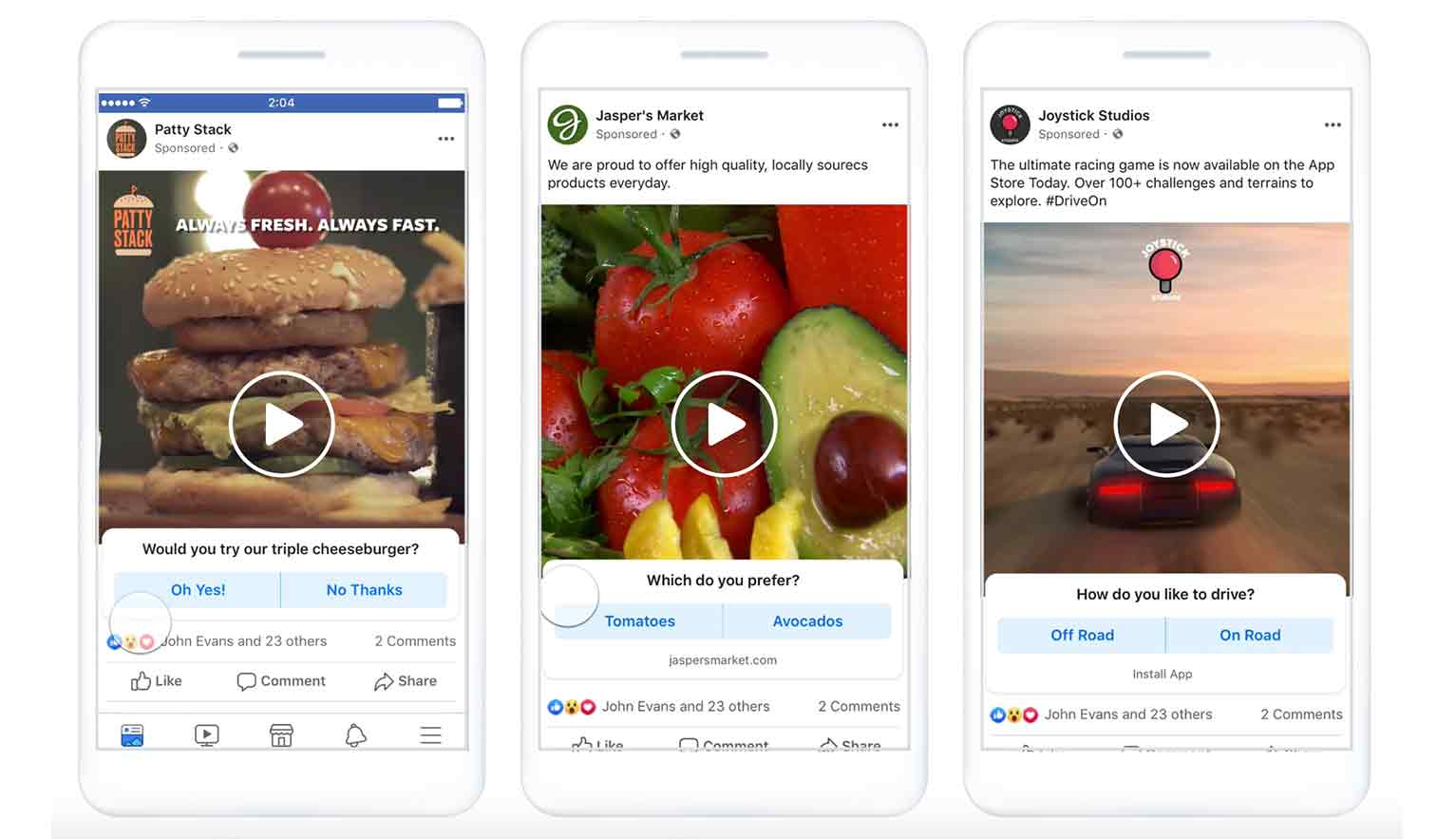 Video poll ads, only available on mobile, combines video with an interactive poll to drive engagement.