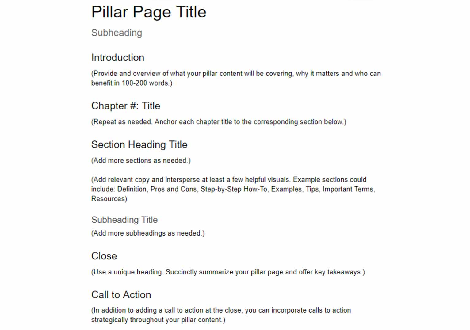 Pillar page template featuring an introduction, chapters, heading titles, subheadings, a close and calls to action.