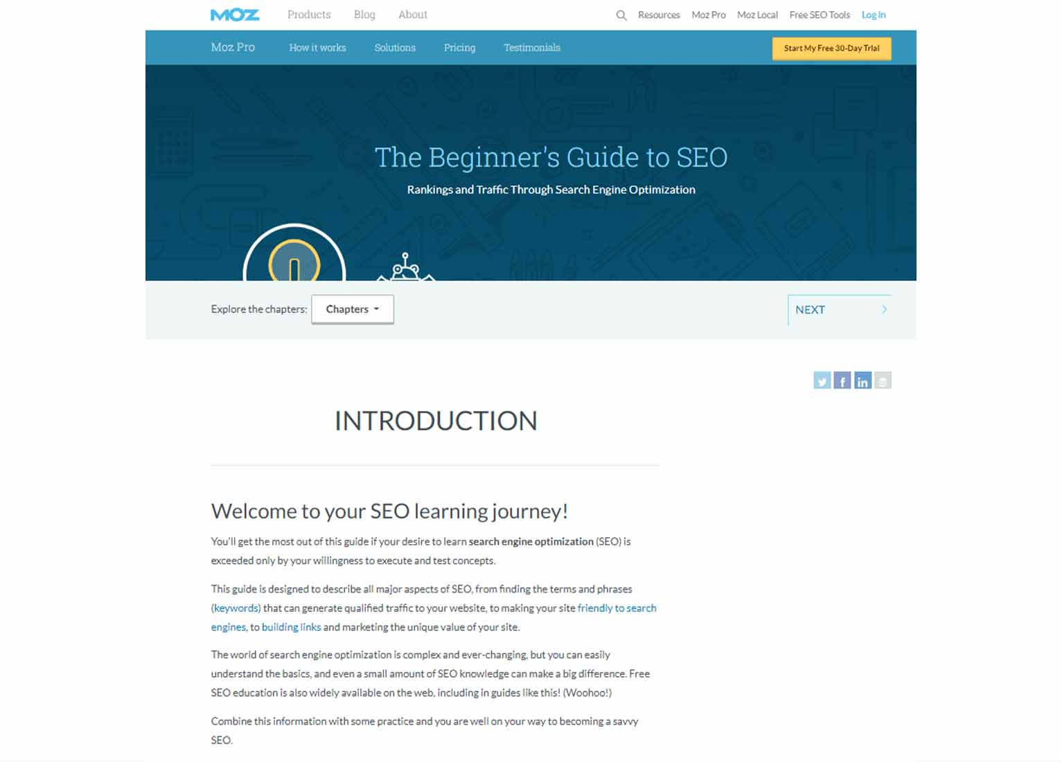 Moz's The Beginner's Guide to SEO pillar page, featuring a brief introduction.