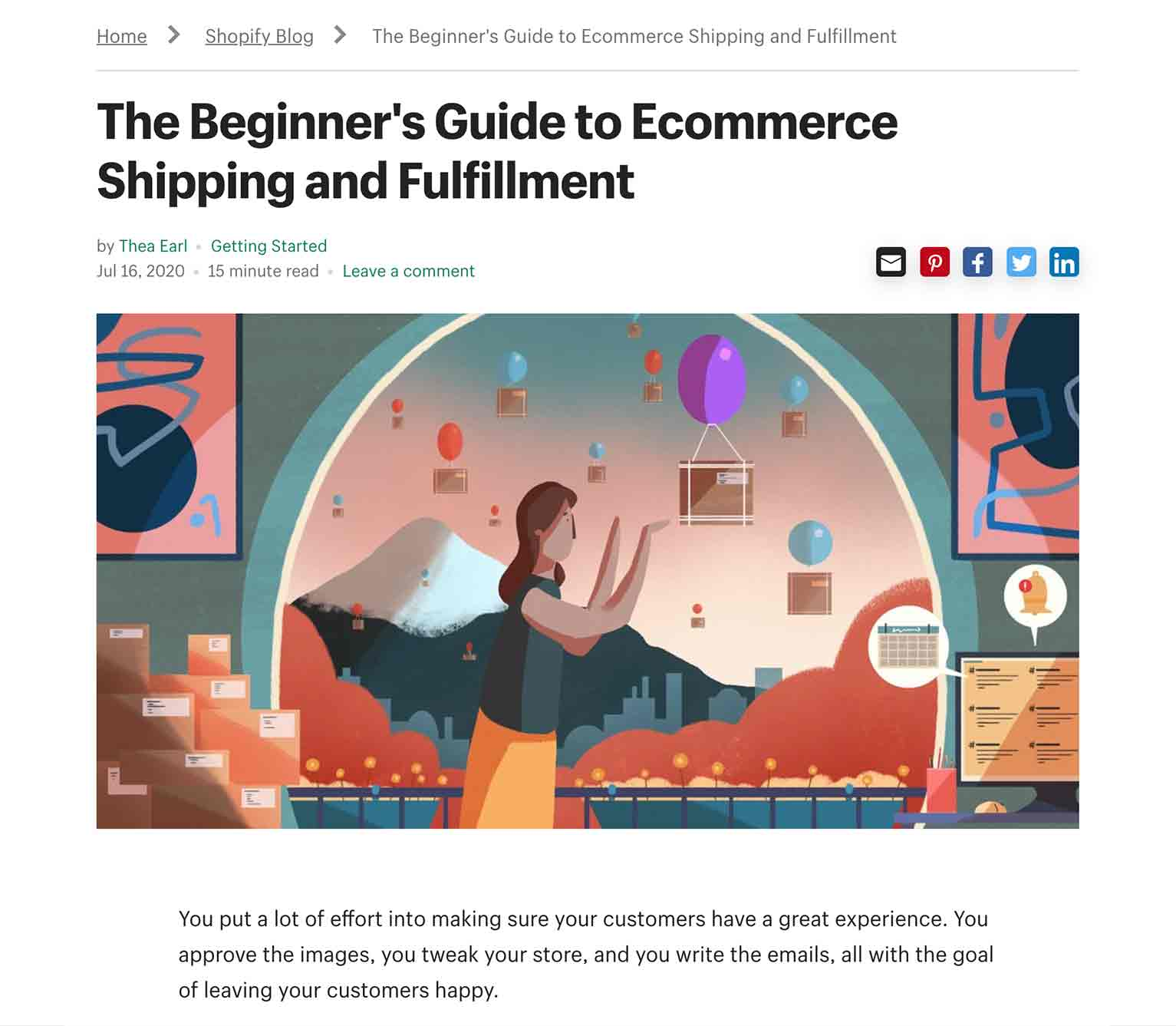 "Shopify pillar page is entitled ""The Beginner's Guide to Ecommerce Shipping and Fulfillment."""