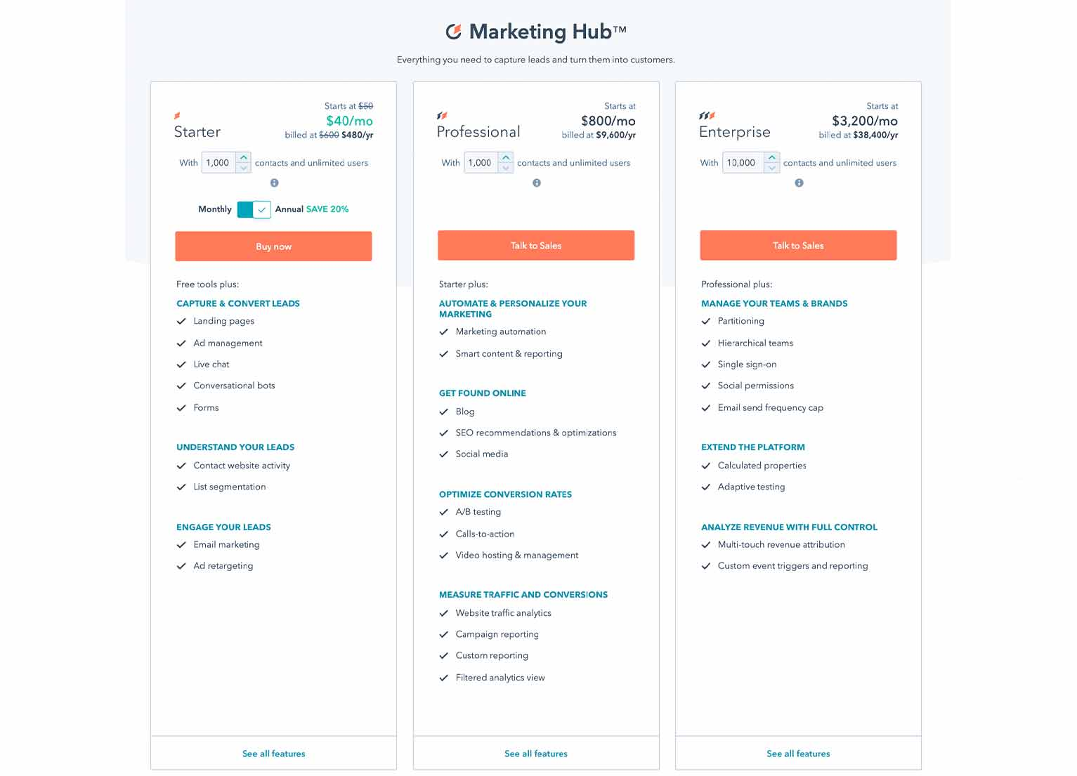 A 3-column breakdown of plans available from HubSpot Marketing Hub, including its Starter, Professional and Enterprise plans, each with pricing and features.