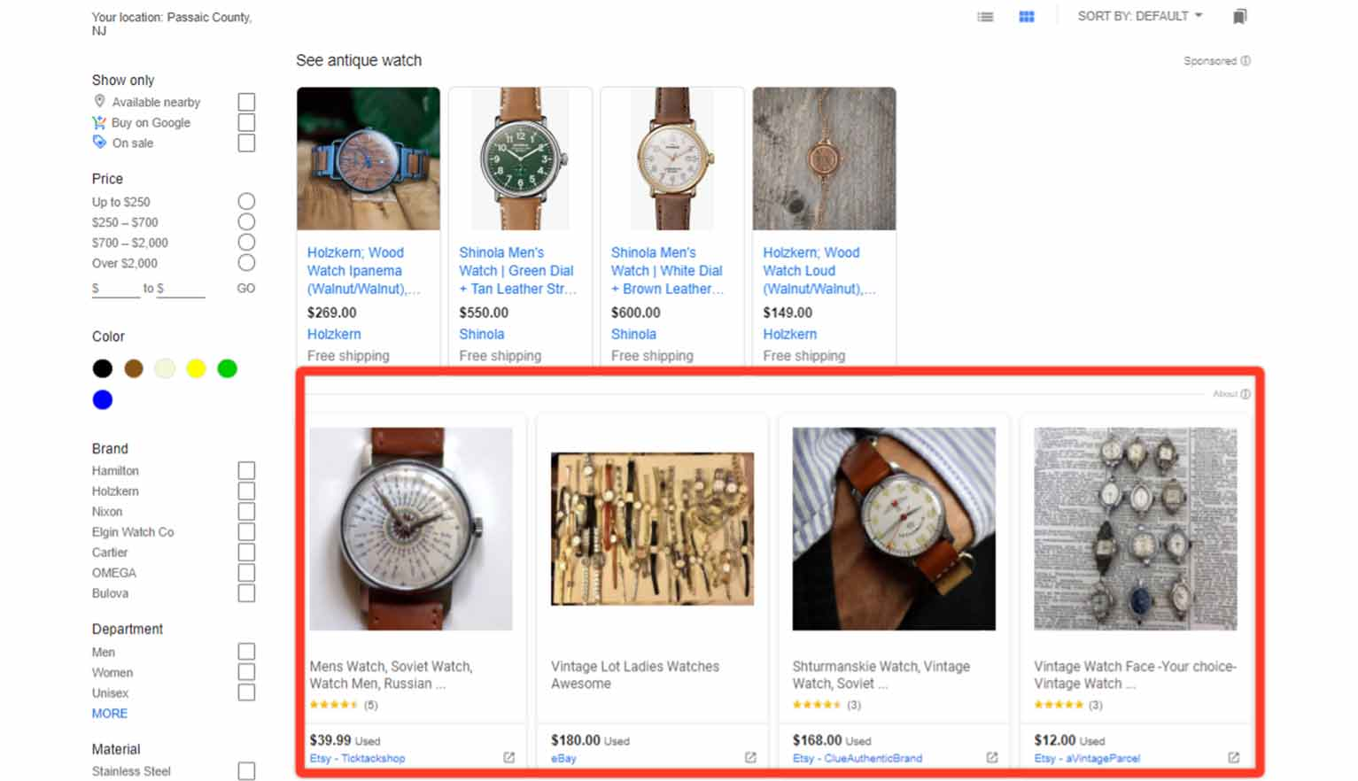 The free Google Shopping listings don't look all that different from sponsored one.