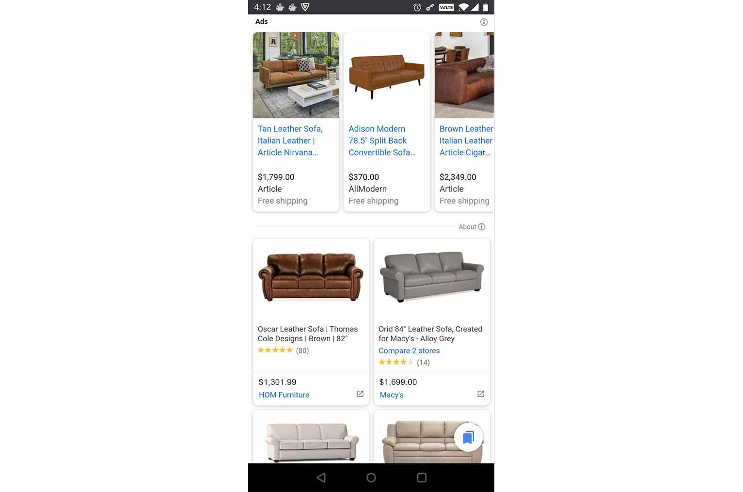 In some product categories such as furniture, you'll see 2 free listings that appear side by side.