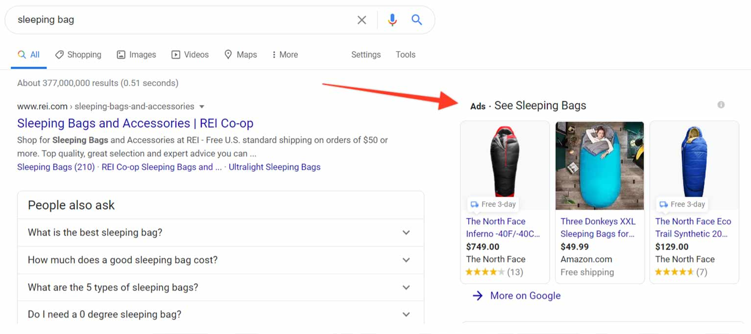 You can still see paid Google Shopping ads on the front page of Google search results.