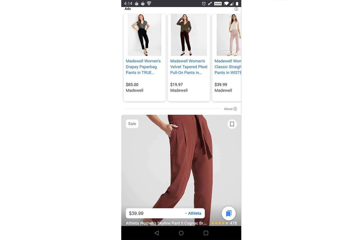 For categories such as clothing, the free listings appear much larger with each of them taking up about half the page.