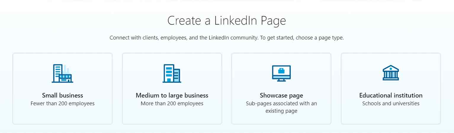 Select the type of LinkedIn page you'd like to create.