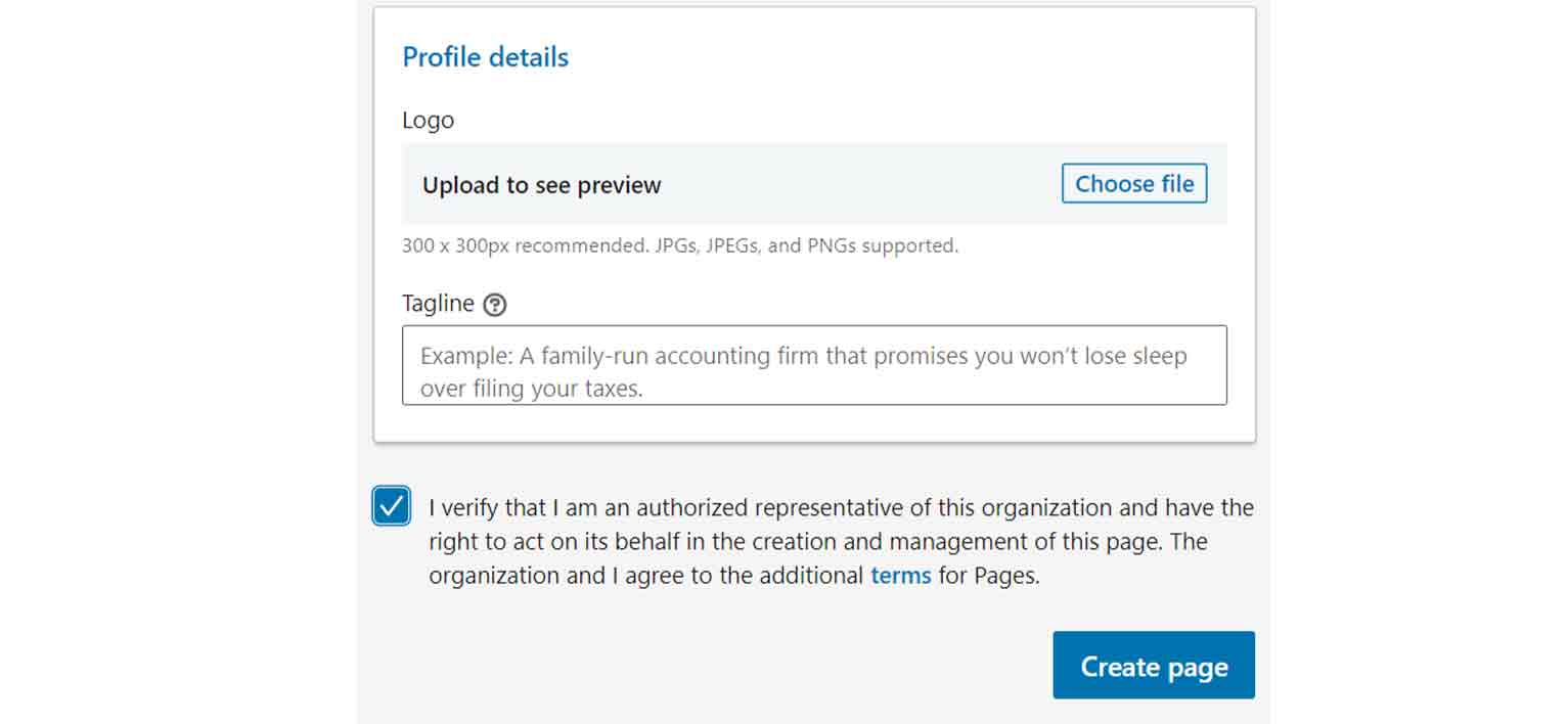 "Check the box agreeing to the additional terms for LinkedIn pages, then click on ""Create page."""