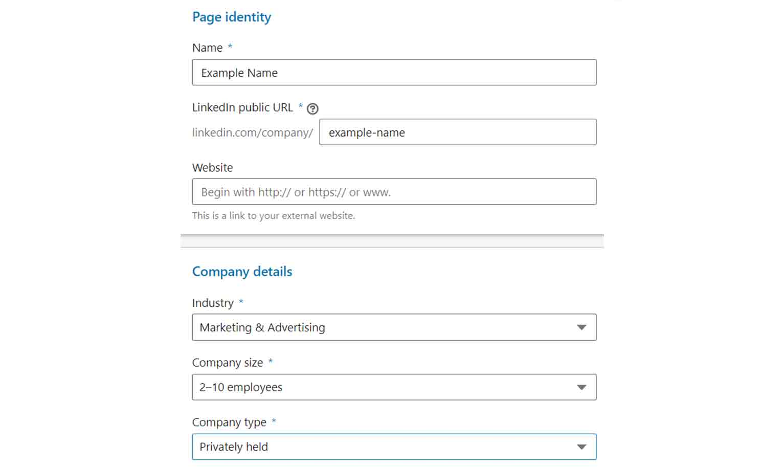 Fill out the essential details about your LinkedIn page.