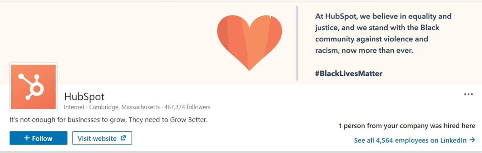 HubSpot uses its LinkedIn cover image to share a message about its support for a cause.