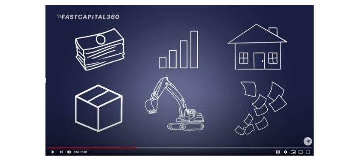 Snippet showing how graphics can be used in video. Graphics include dollar bills, a bar chart, a house, a crane and a box.