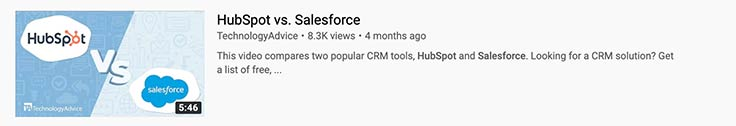 Video snippet example of a product review comparison between HubSpot and Salesforce.