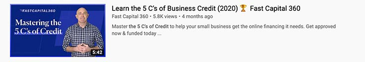Video snippet example of a video blog, entitled Mastering the 5C's of Credit, featuring a man with a checkered shirt.