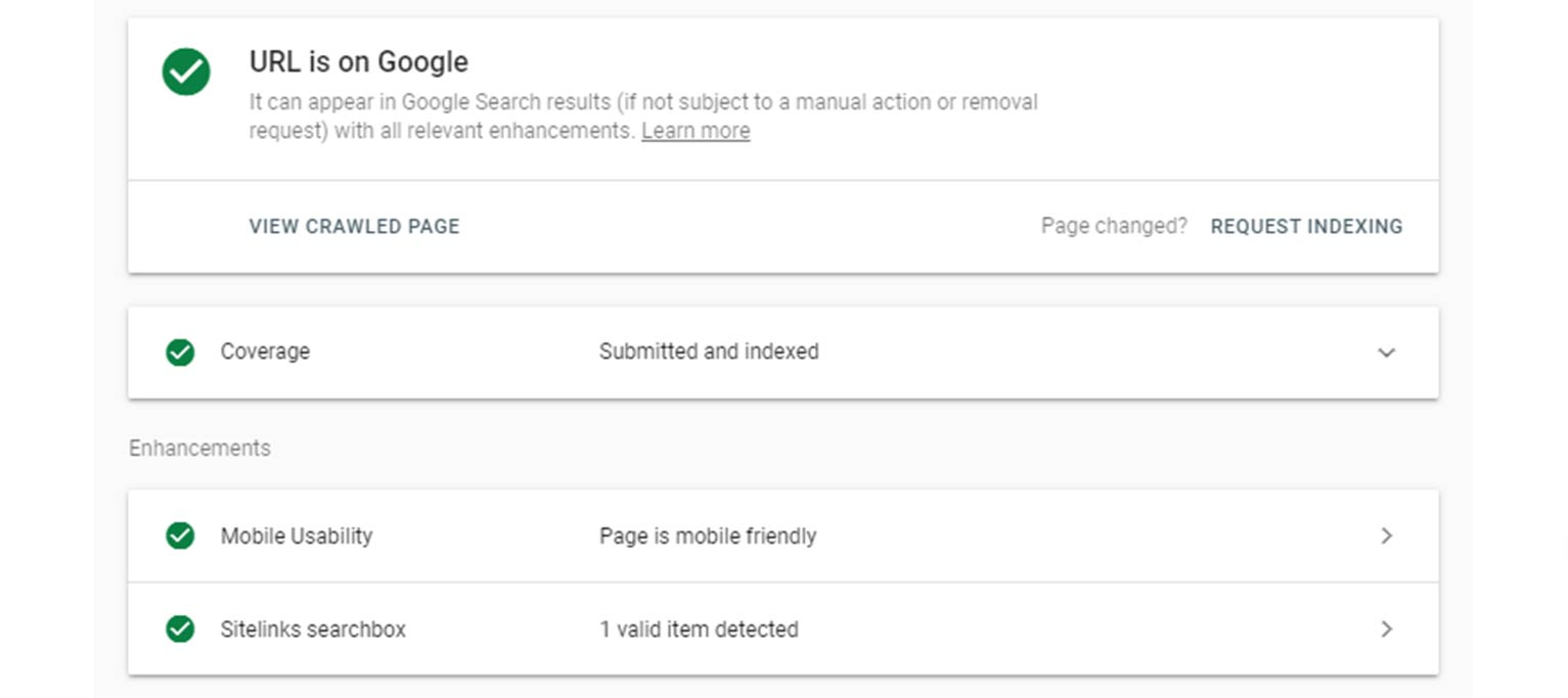Google Search Console's URL inspection tool lets users check if a page has been included in the Google index.