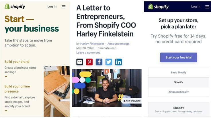 Shopify markets its business with a responsive web design.