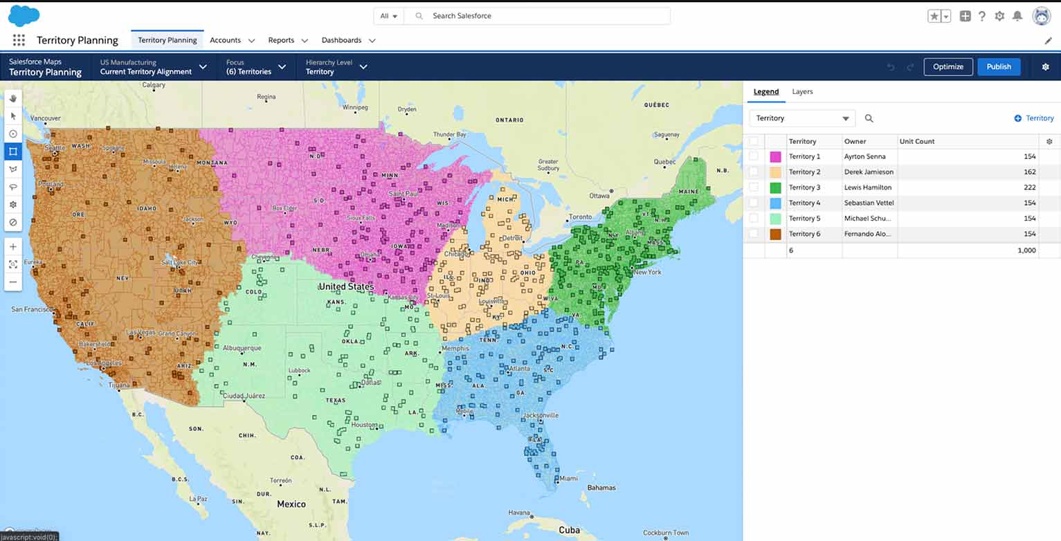 Salesforce Maps can help field representatives determine optimal sales routes and appointment planning.
