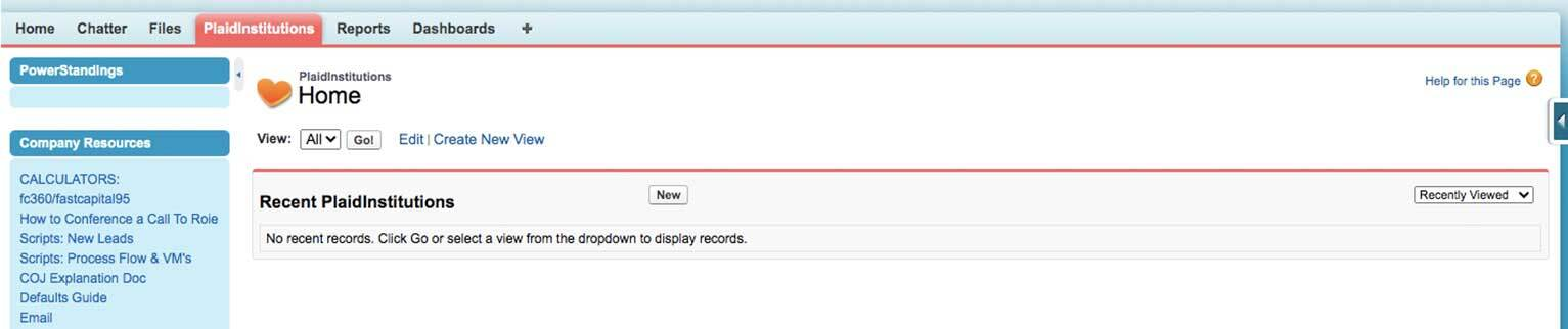 Salesforce screen prompting users to click on New to populate the field with an object name.