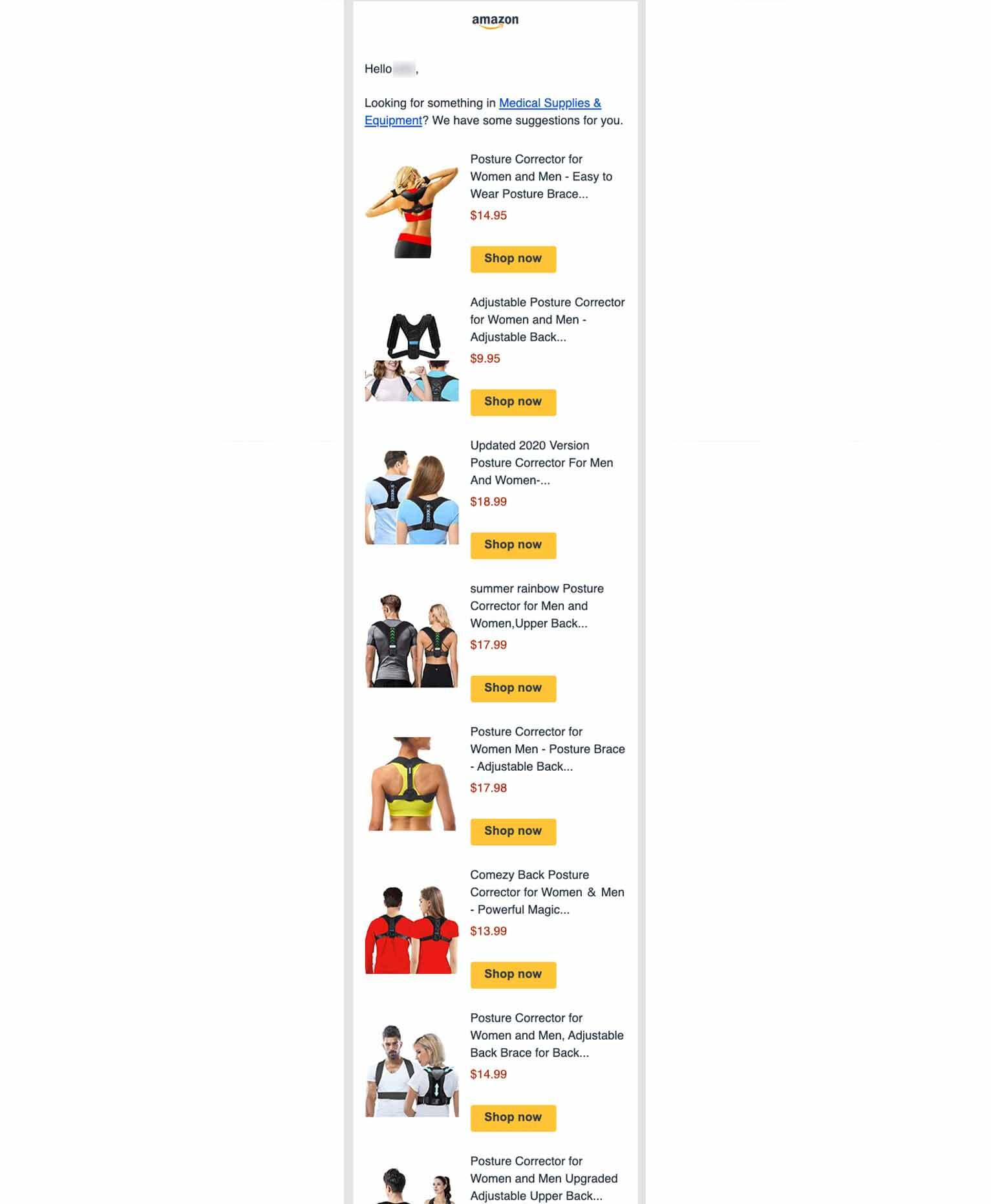 Amazon's third follow-up email in a purchase reminder sequence, showing images and pricing for various posture corrector braces.