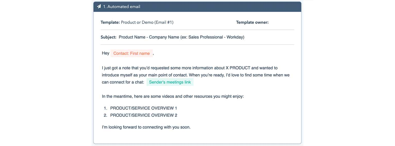 First customizable email in a HubSpot automated sequence template for product or demo requests.