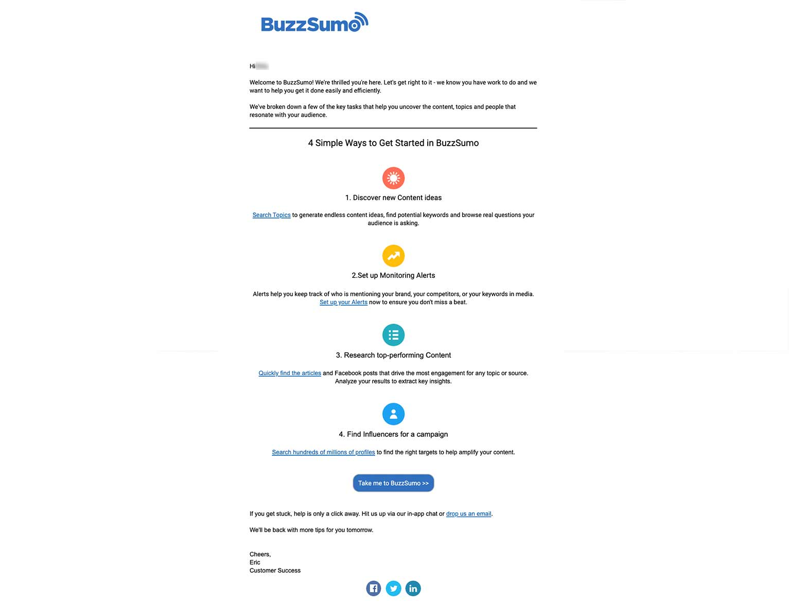 BuzzSumo onboarding email detailing 4 ways to get started, including discovering content ideas, monitoring alerts, conducting research and finding influencers.