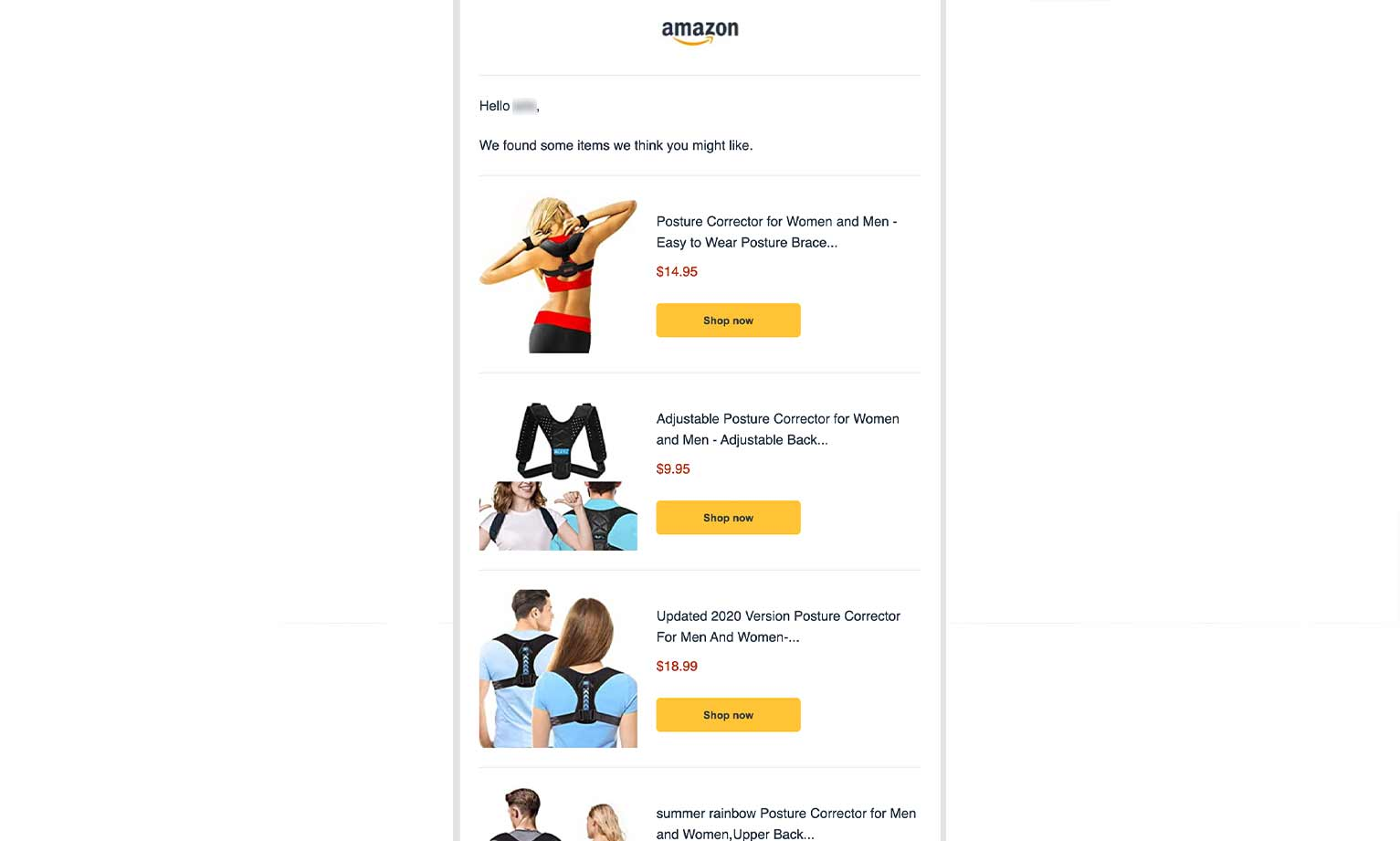 """Amazon's second purchase reminder in their sequence, offering images of similar posture correctors for sale with """"shop now"""" CTAs and pricing next to each."""