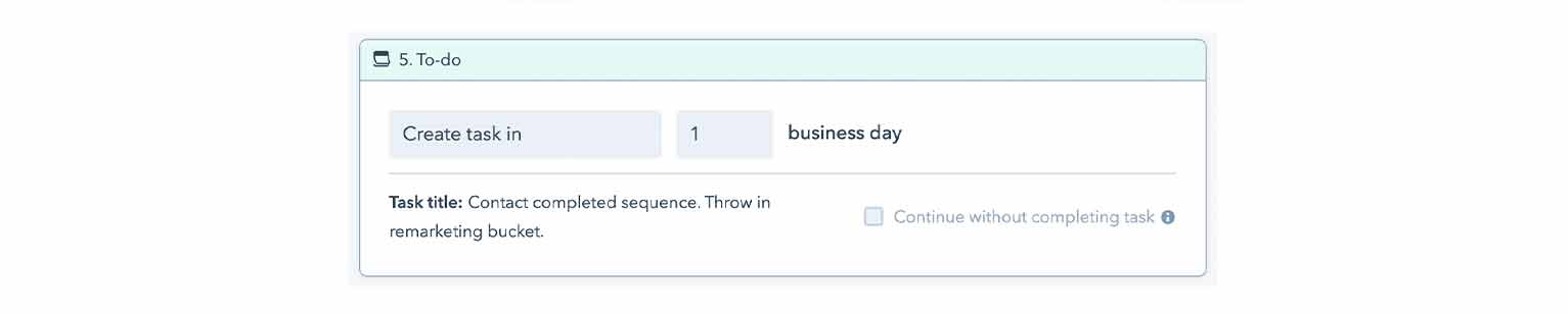 A to-do task at the end of HubSpot's automated sequence template. The task is to place the contact in a remarketing email campaign.