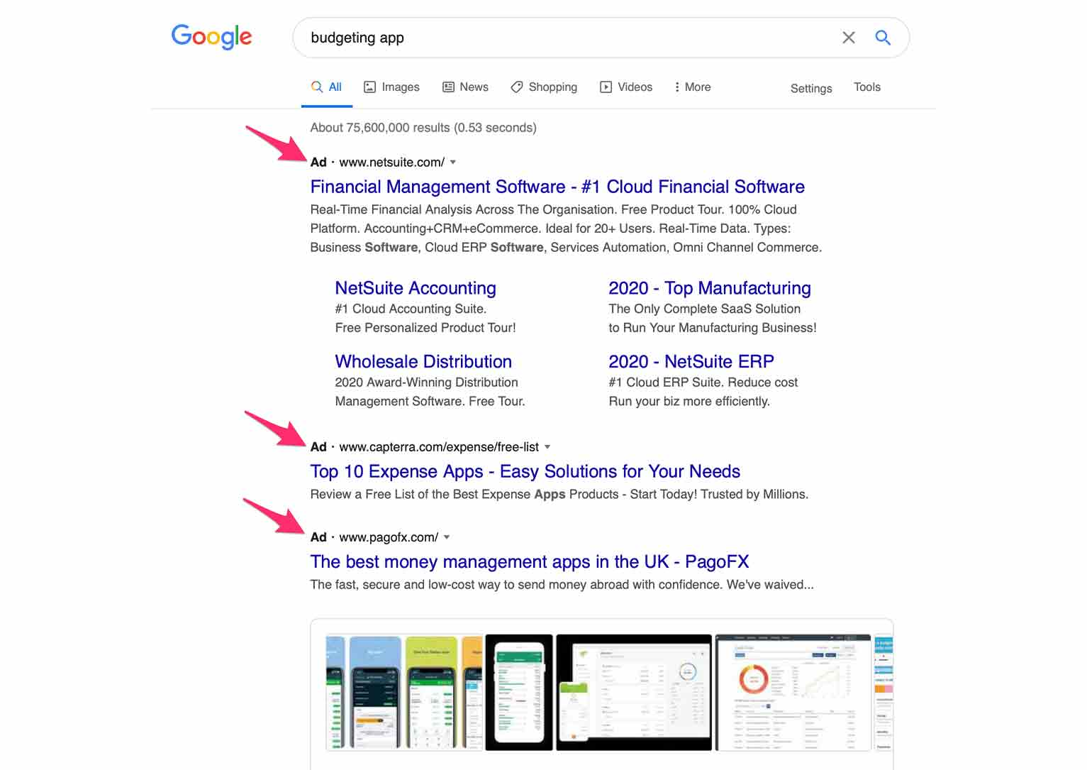 Search ads are text ads displayed in the Google Search Network.