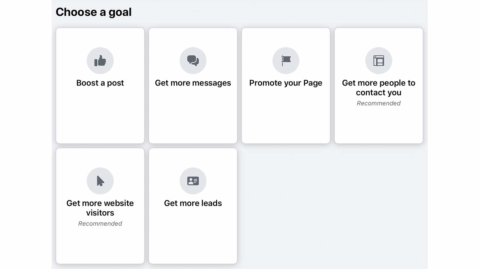 Advertising with Facebook Ads begins by choosing a goal.