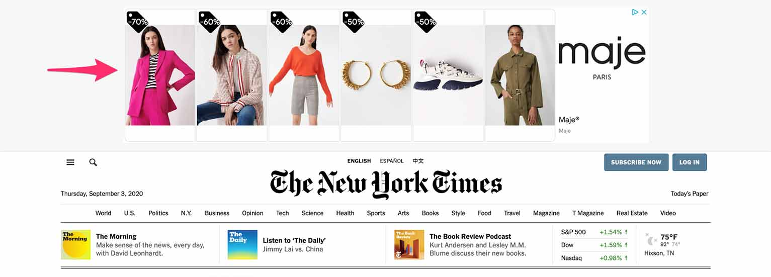 Here's an example of a Google Display ad shown on The New York Times.