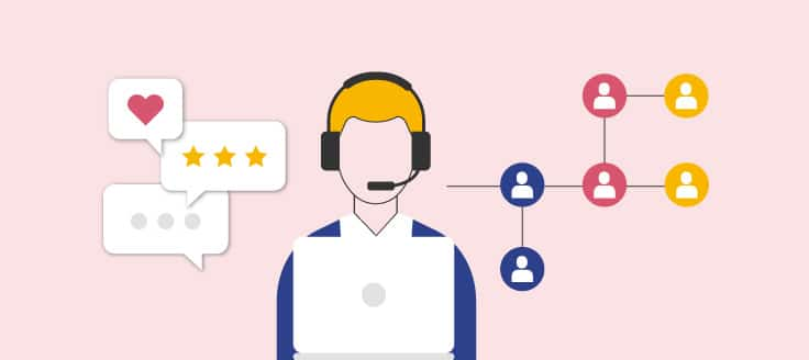 Customer service representative with a headset is using a laptop. Text bubbles with ratings and icons of people are shown.