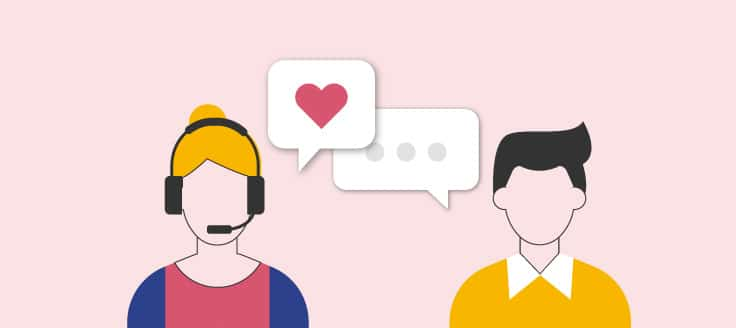 Customer service representative with headset speaking to a customer. A text bubble with a heart is coming from the rep.