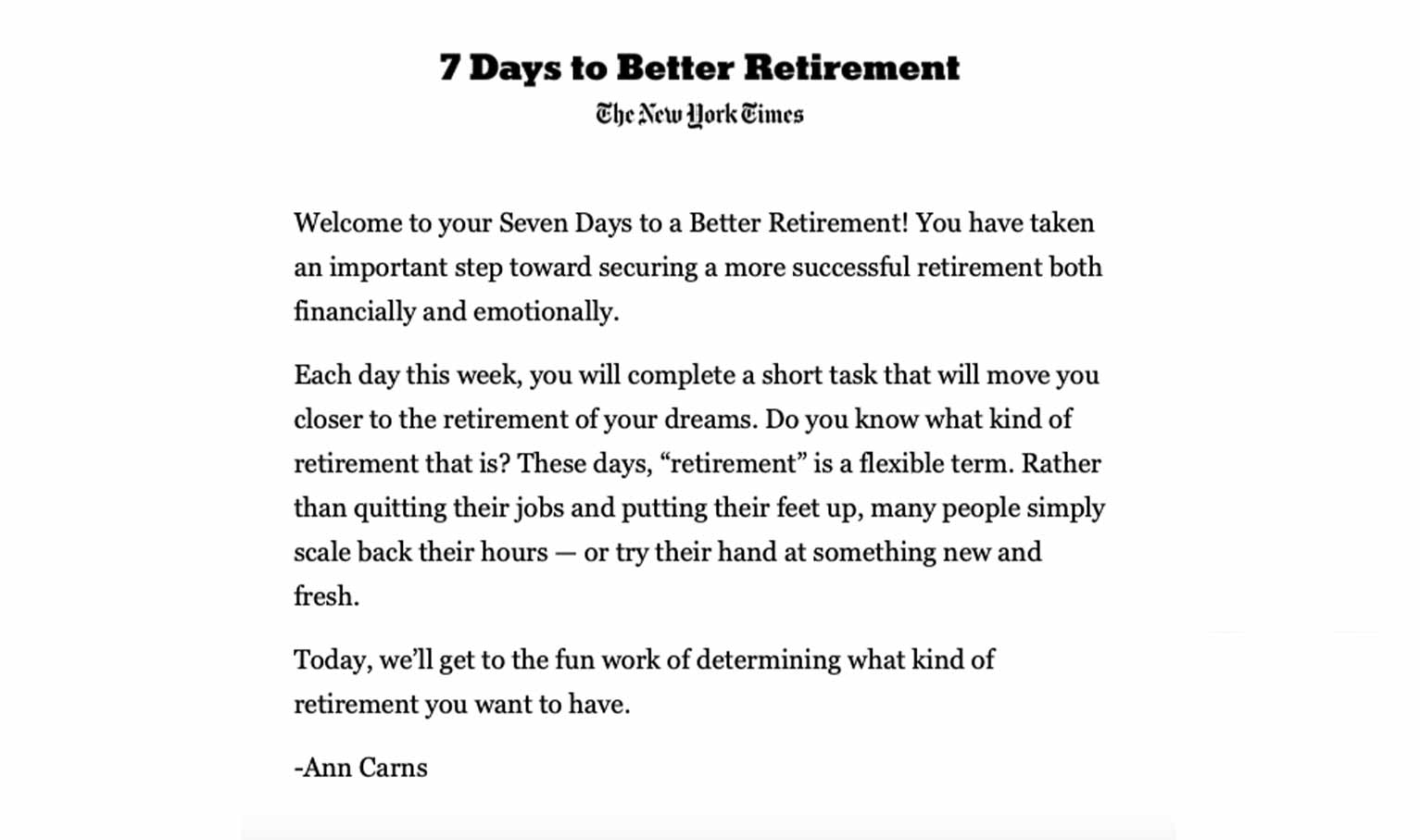 """An email from The New York Times promoting its """"7 Days to a Better Retirement"""" series."""