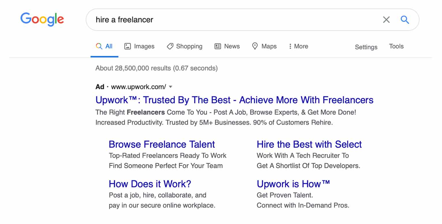 Here is a Google ad example from Upwork.