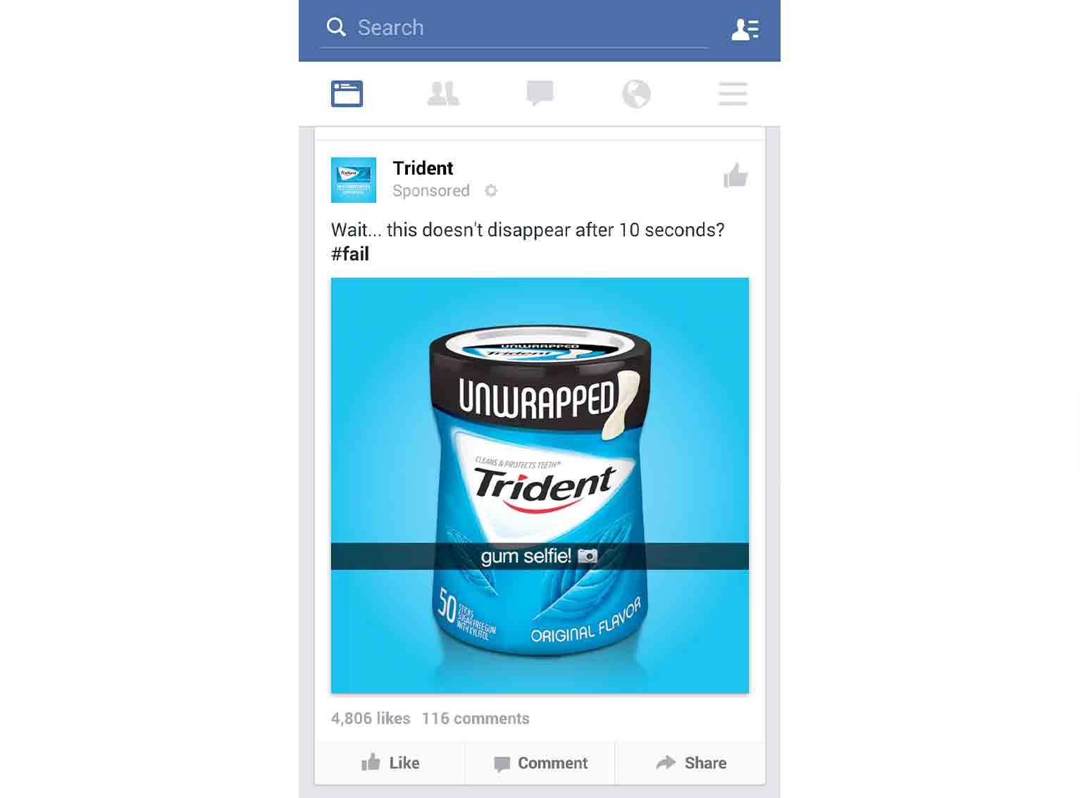 Trident's attempt at a meme misses the mark.