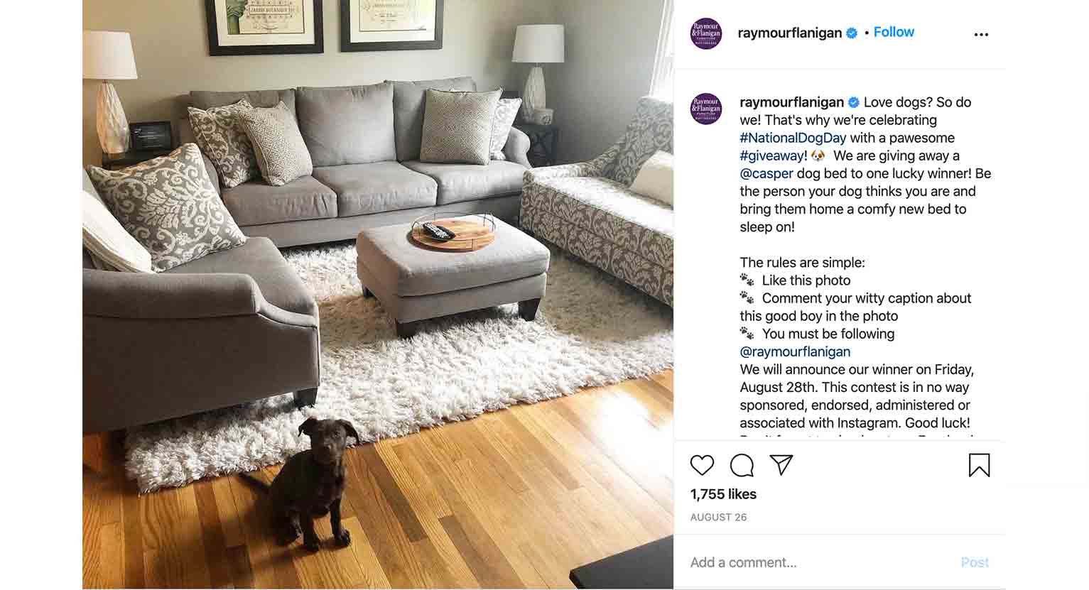 Raymour & Flanigan encourages customers to post photos of their furniture purchases using the Instagram hashtag, #myrfstyle.