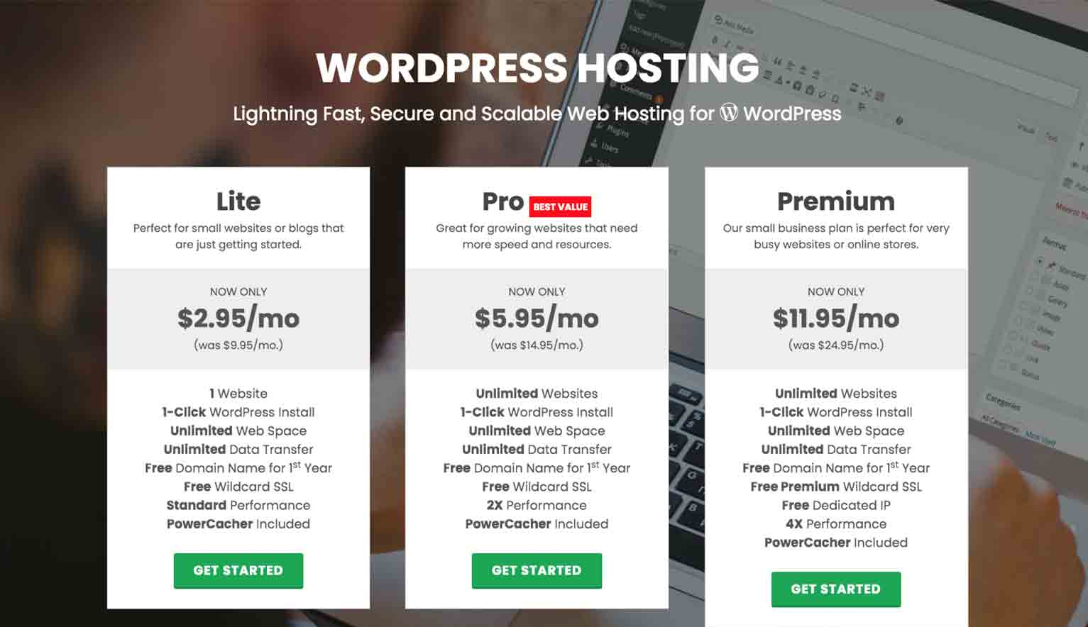 Here's an example of a landing page from web-hosting company GreenGeeks that offers a comprehensive overview of all their hosting packages.